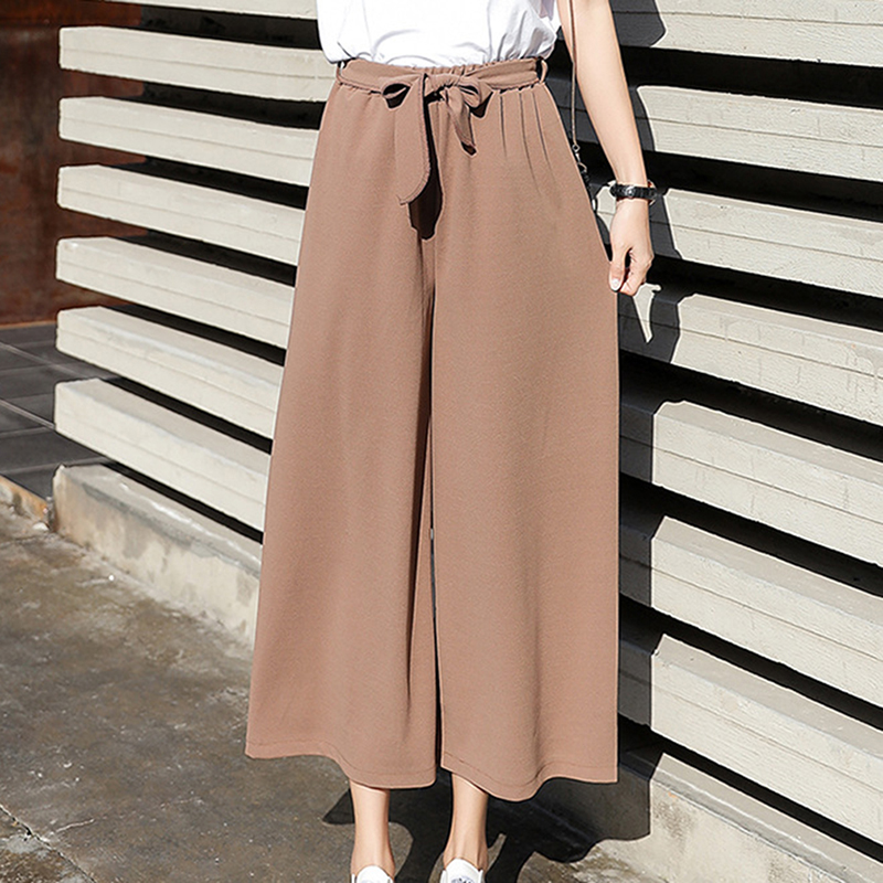 2018 Women Chiffon High Waist   Wide     Leg     Pants   Bow Tie Drawstring Sweet Elastic Waist Loose Ankle-length   Pants   Trousers Pantalones