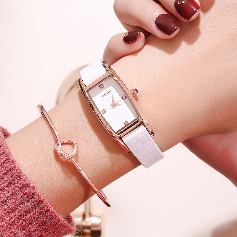 Relogio Feminino GUOU Quartz Fashion Watch Women Luxury Brand Leather Rose Gold Rectangular Dial Watches Ladies Relojes Mujer high quality rose gold silicone watch women ladies men fashion dress quartz wristwatch relogio feminino gv008