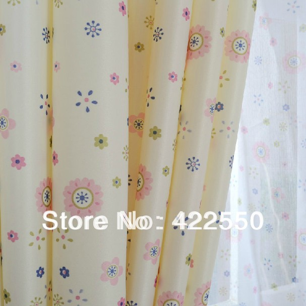 Ready Made Curtains Light Yellow Small Floral Curtains Of Gauze
