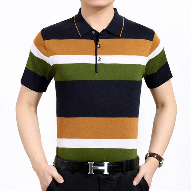 2017 new Brand casual thin mens polo shirts Fashion striped short sleeve Camisa polos homme Casual slim men clothing plus size