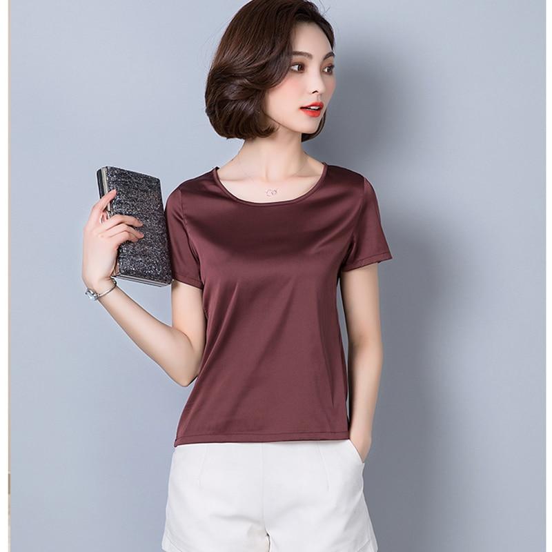 O-Neck Fashion Woman Blouses 2018 Plus Size Women Clothing Solid Satin Imitated Silk Basic Bottoming Shirts Summer Tops Femme 4