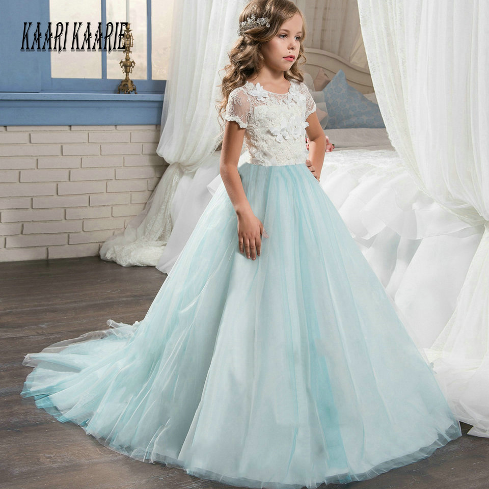 Cheap Ice Blue   Flower     Girl     Dress   2018 Women Child Wedding Party Gowns Scoop Tulle Lace Zipper Ball Gown First Evening   Dresses