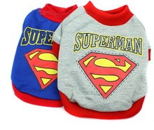 New Cotton Superman Dog Shirt Cartoon Style Puppy Cat Pet Vest Small Dog Clothes Chihuahua Sweaters Clothing