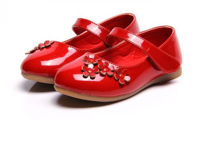Children Princess Shoes red black white Band Soft Sole PU Leather Fashion  Bowknot Rhinestone Flower Girls Dress Shoes 3e66977b10ab