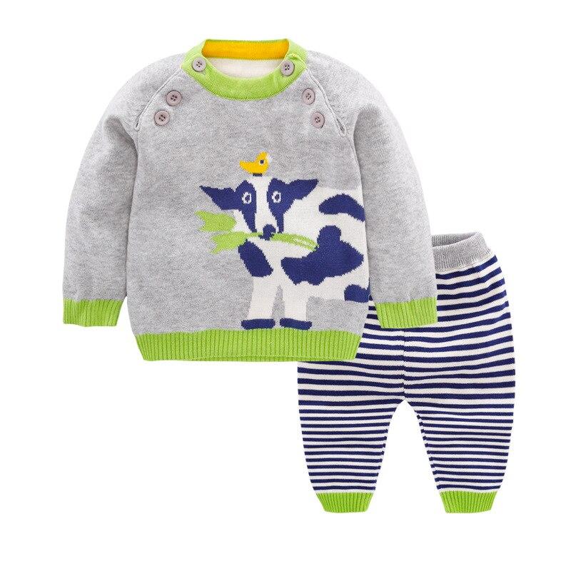 Boys Sets Newborn Baby Boy Clothes Cotton Cows Cartoon Sets Sweater + Pants Blue Black Suits 3 9 12 18 24 Months Kids Clothes
