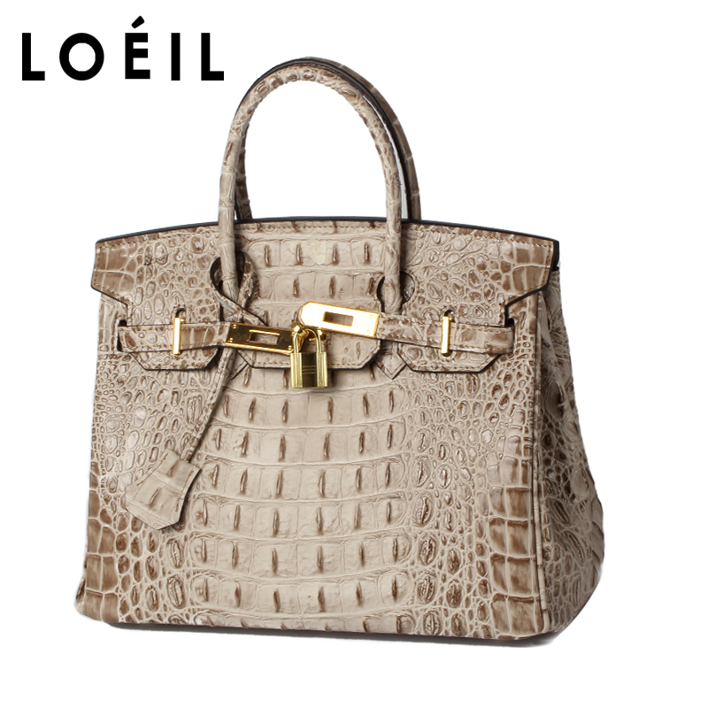 LOEIL ladies bag crocodile pattern Cowhide leather shoulder bag women Crossbody Bags Fashion Women Handbags fashion style women crocodile pattern doctor women backpack famous bags women s pu leather rucksack bag z762