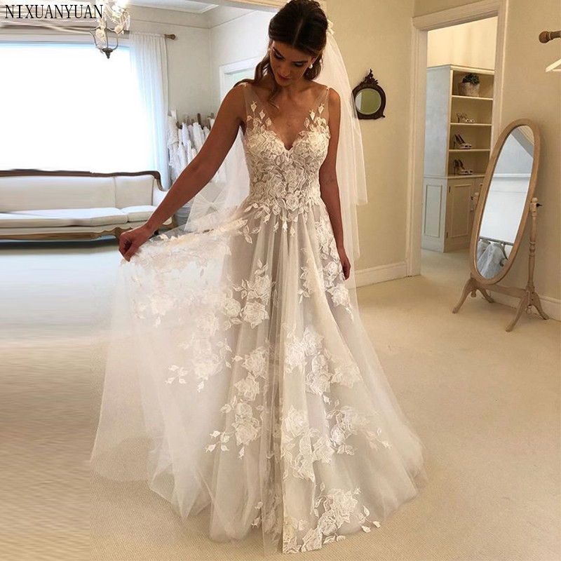 New Arrival <font><b>Boho</b></font> <font><b>Wedding</b></font> <font><b>Dress</b></font> <font><b>2019</b></font> Appliqued Tulle Sheer A-Line <font><b>Sexy</b></font> <font><b>Backless</b></font> Beach Bride <font><b>Dress</b></font> <font><b>Wedding</b></font> Gowns Vestido De Noiva image