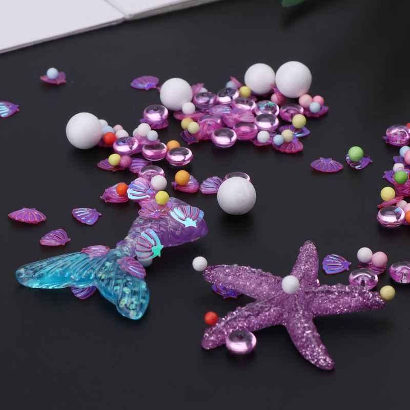 1 bolsa de limo cola de sirena pequeñas bolas de espuma juguetes para niños DIY Kit accesorios para niños divertido juguete herramienta de relajación regalos
