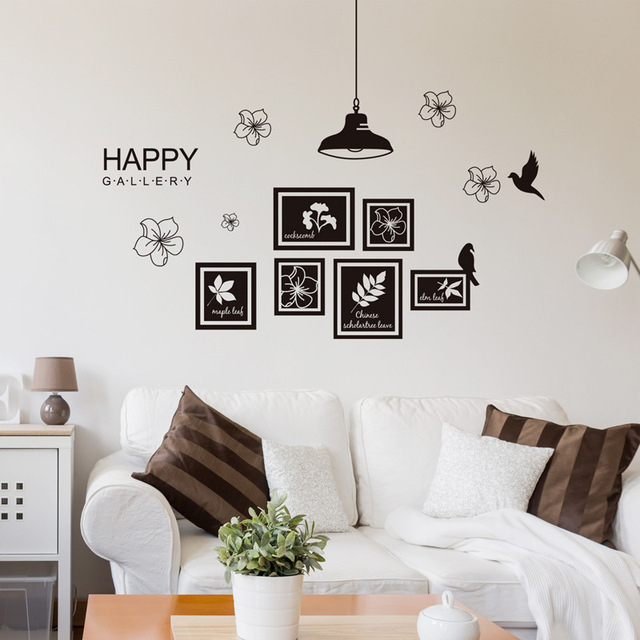 Black Photo Frame Wall Stickers Vinyl Diy Art Wall Decals For Living
