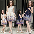 2016 summer spring family clothing mother daughter matching dress sleeveless geometric printed mother daughter matching dress