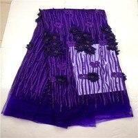 Africana púrpura Encaje Telas, 3D applique Encaje para la boda, vestido nupcial, alta calidad francesa tulle Encaje Telas para la boda Encaje