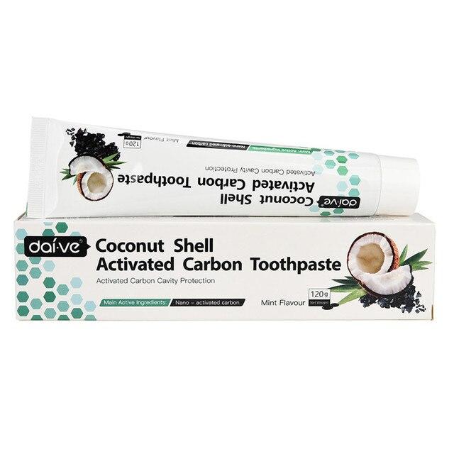 De cáscara de coco carbón activado blanqueamiento de dientes pasta de dientes Natural negro menta sabor de cáscara de coco de cristal negro pasta de dientes Z10