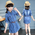 kids Girls long-sleeved dress 2017 new baby girls' clothing fashion big virgin cardigan denim dress 4/5/6/8/9/10/11/12/13 years