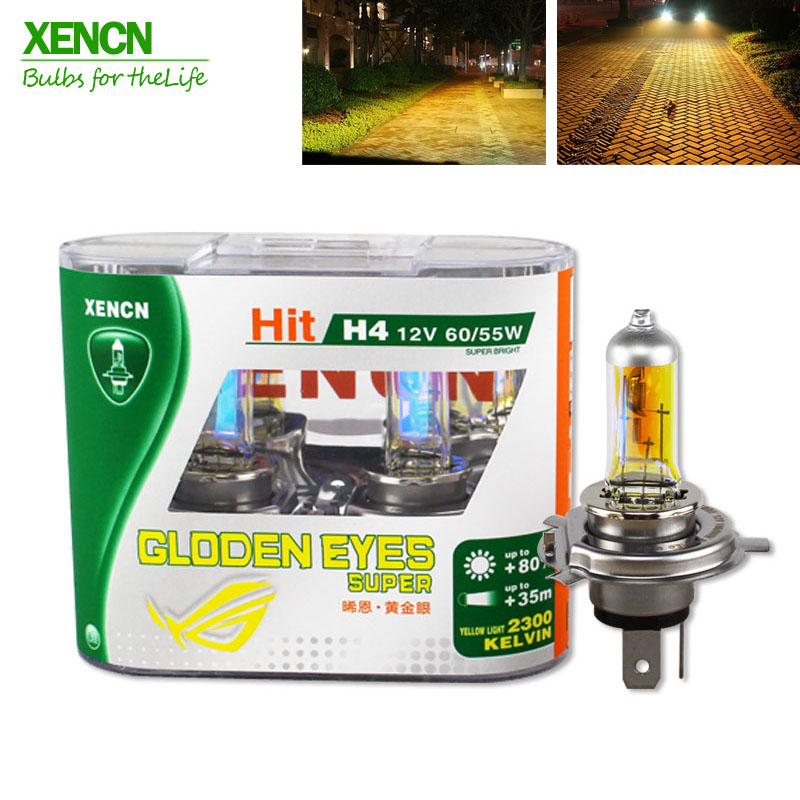 XENCN H4 12V 60/55W P43t 2300K Golden Eyes Super Yellow More Bright Light Halogen Car Bulbs Headlights Free Shipping 2pcs