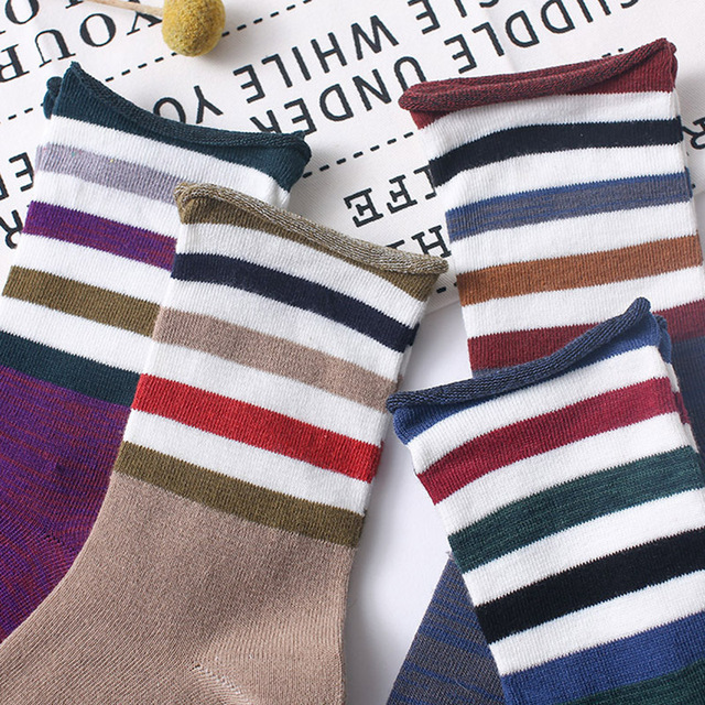 Women Socks Japanese New Colorful Stripes Color Matching Ladies Cotton Middle Tube Sock Fashion Street Wild Calcetines 3