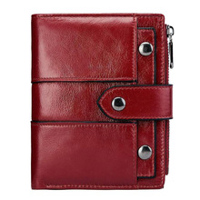 Western Rfid Genuine Leather Women Short Wallet Hasp Zipper Design Cow Leather Women Purse