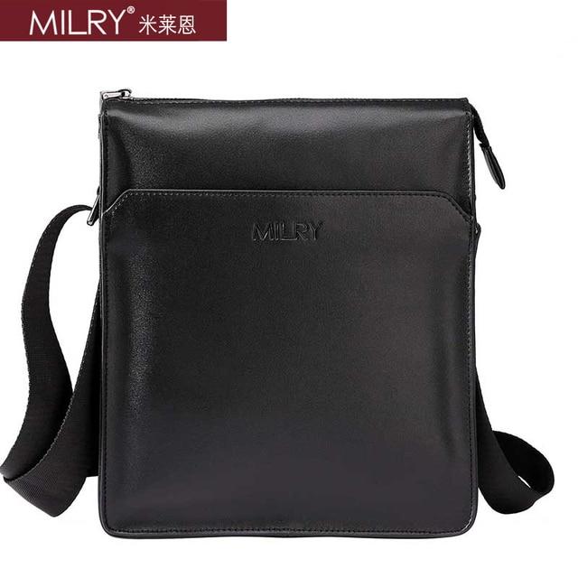 Free Shipping 2013 fashion Brand MILRY 100% Genuine Leather shoulder  Bag for men messenger bag cross body black  CS0012-1