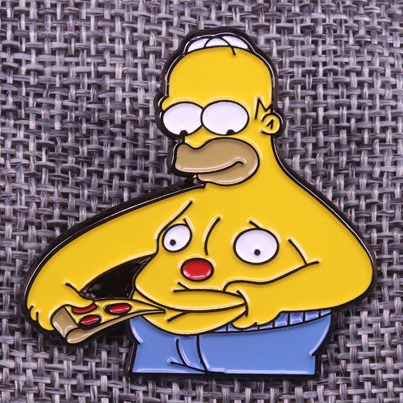 Simpson mangiare pizza pins divertente fatso del ventre distintivo cute cartoon spilla creativo del regalo del anime di cultura pop accessorio