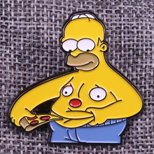 Simpson Mangiare Pizza Pins Divertente Fatso Del Ventre Distintivo Cute Cartoon Spilla Creativo Del Regalo Del Anime di Cultura Pop Accessorio(China)