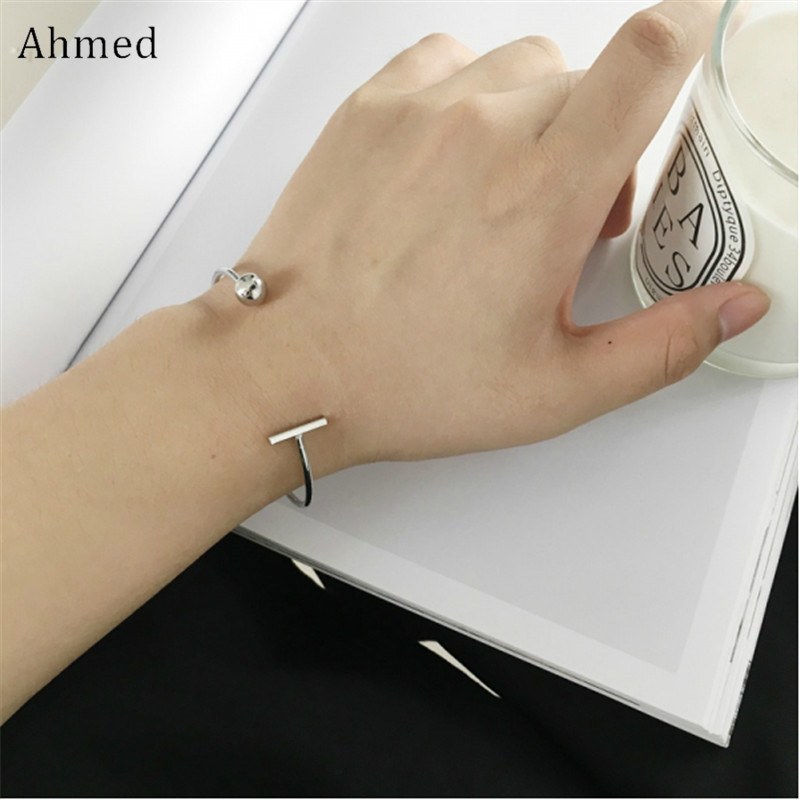 Ahmed Simple New Word Circle Opening Bracelet For Couple Charm Valentines Day Gift Love Fashion Jewelry
