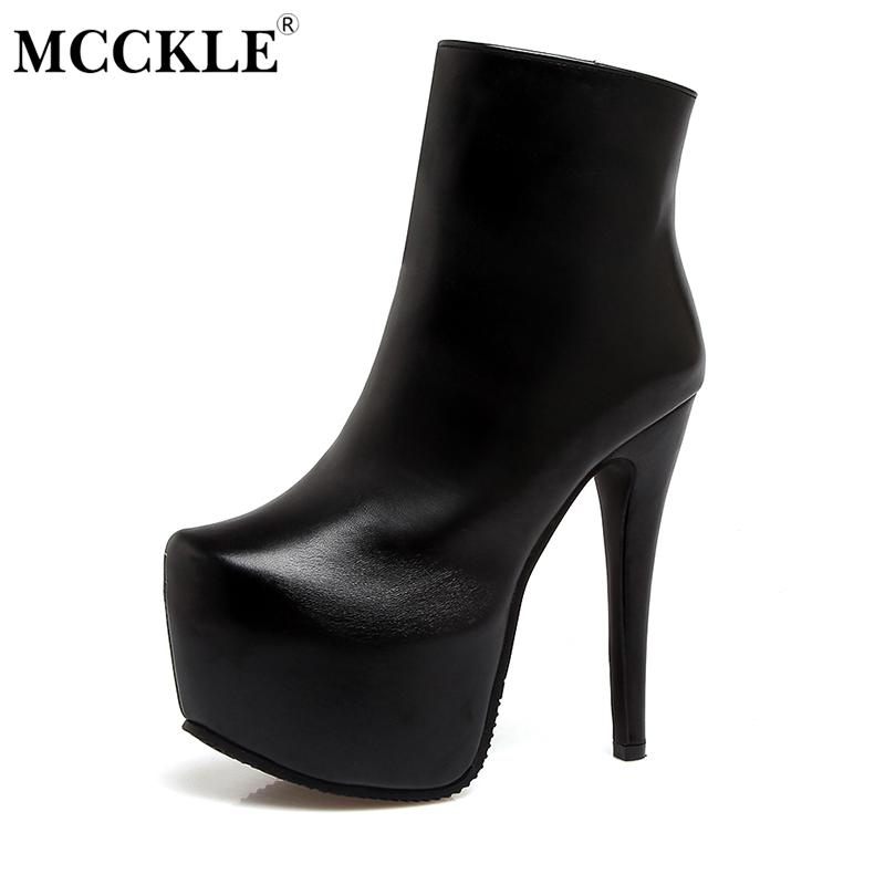 MCCKLE 2017 Ladies Fashion Sexy Autumn Winter Ankle Boots Female Slip On Zip Black Solid Platform High Heels Plus Size34-43 mcckle women high heels ankle boots female buckle slip on suede shoes woman platform spring autumn casual shoes black size 35 39