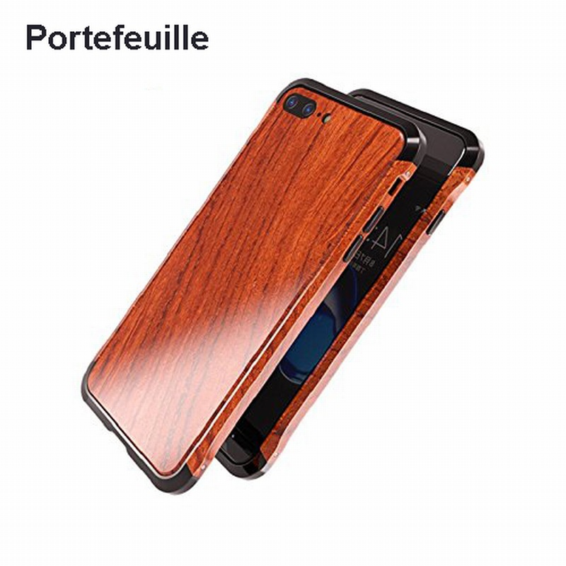 Portefeuille For iPhone 7 Wood Metal Case Aluminium Alloy Protective Bumper Case for Apple iPhone 8 Plus 6 6S Frame Accessories iPhone XS