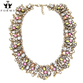 High Quality Collares Necklace Women Luxury Accessories Crystal Beads Inlaid Alloy Vintage Chokers Statement Necklace NK972