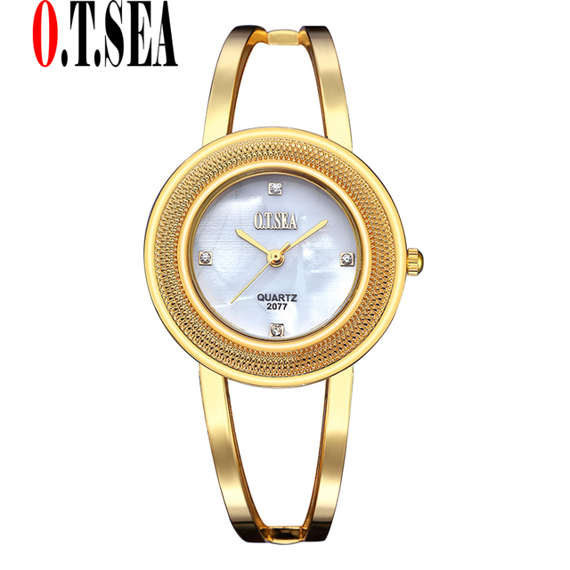 3 Colors O.T.SEA Brand Stainless Steel Bracelet Watches Women Ladies Crystal Dre