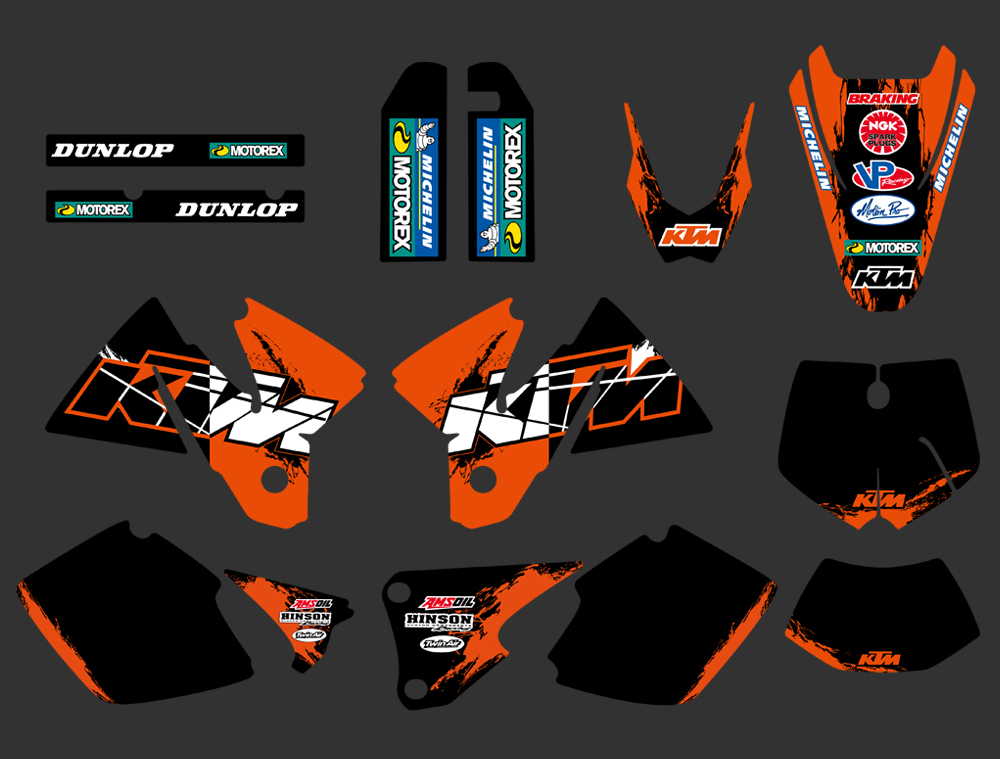DST0262 NEW TEAM GRAPHICS WITH MATCHING BACKGROUNDS FIT FOR KTM EXC 125 200 250 300 380 400 1998 1999 2000 FULL SIZE MODELS - Yongkang Tongshida Industrial & Trade Co., Ltd. store