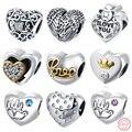 AZIZ BEKKAOUI Amor Do Coração-forma Beads Fit Pandora Colar Pulseira Diy 925 Sterling Silver Original Europeu de Cristal Do Encanto Do Coração