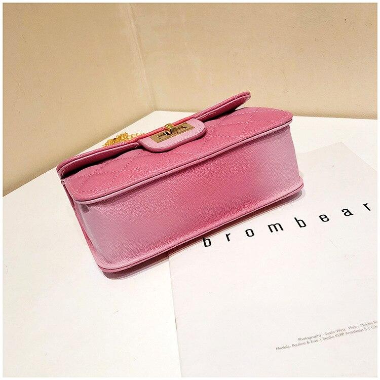 Luxury Women Classic handbag Designer Pink Blue Gradient PU Leather Lingge Shoulder Bag (10)