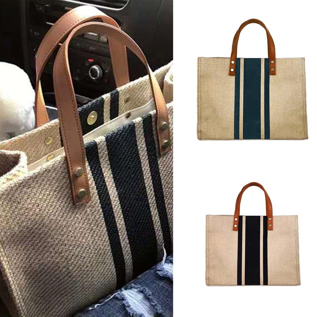 MUQGEW Striped Handbag Briefcase Shoulder-Bags Linen Business Femme Pochette Portable