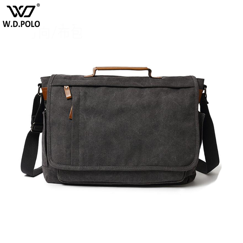 WDPOLO New Canvas Leather Crossbody Bag Men Military Vintage Messenger Bags Large Shoulder Bag Travel Computer Bags C633 canvas leather crossbody bag men briefcase military army vintage messenger bags shoulder bag casual travel bags