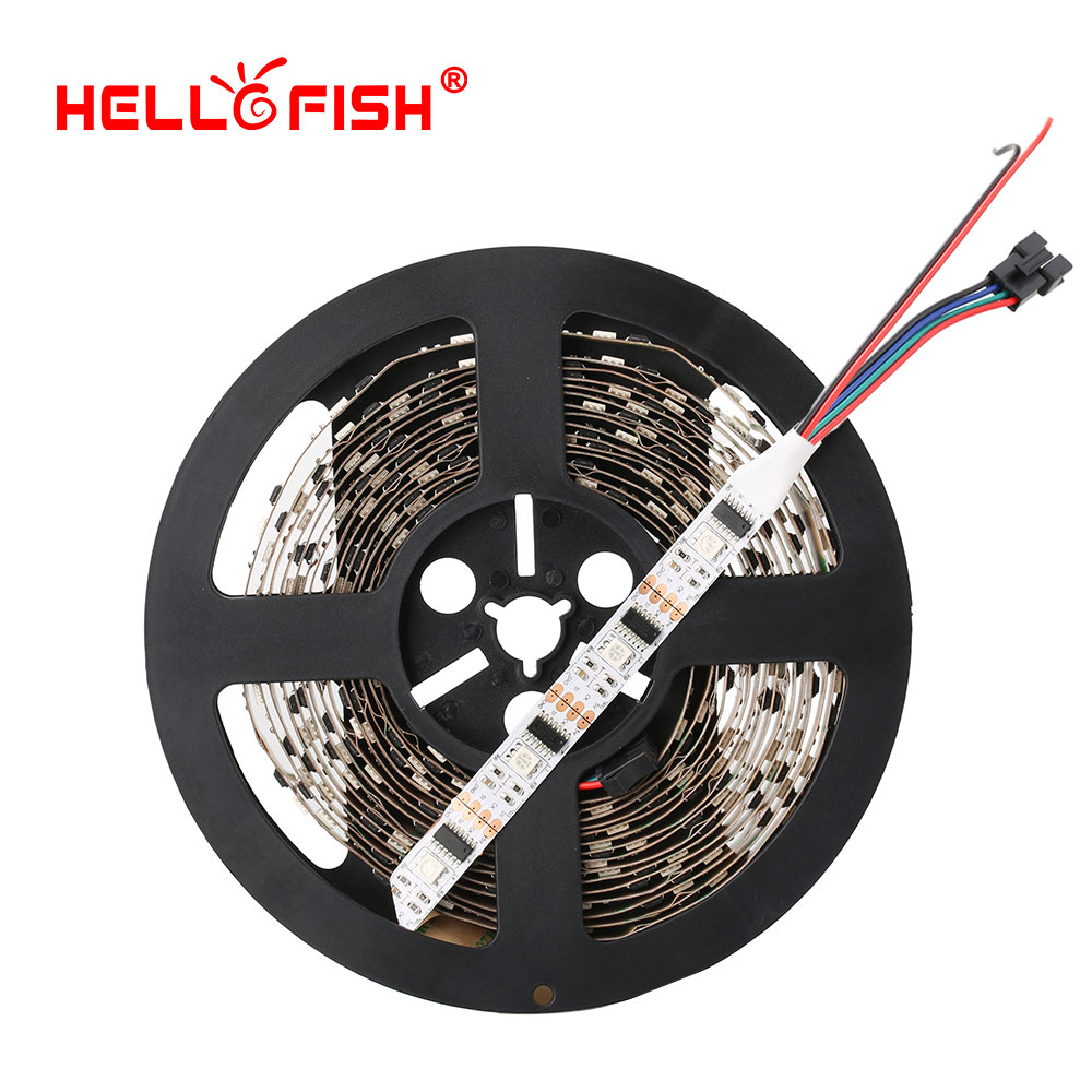 5M WS2801 LED strip Raspberry Pi control LED strip Arduino development ambilight TV White or Black PCB HELLO FISH 5m ws2801 raspberry pi control led strip 32leds m external 2801 ic arduino development ambilight dc5v non waterproof 5050 smd