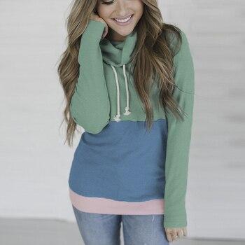 2018 Fashion Autumn Patchwork Sweatshirts Women Clothes Long Sleeve Turtleneck Hoodies Moletom Feminino White Pink Green Yellow Hoodies for Women, Sweatshirts for Women, Plus Size Hoodies, Women's Pullover Hoodies, Plus Size Sweatshirts