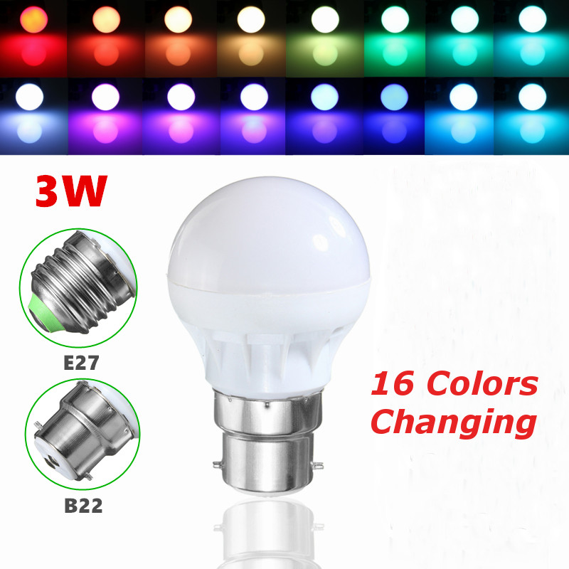 High Quality E27/B22 3W RGB 5050 SMD 6 LED Globe Light Bulb Lamp Energy Saving 16 Colors Changing Home Decor Light AC85-265V