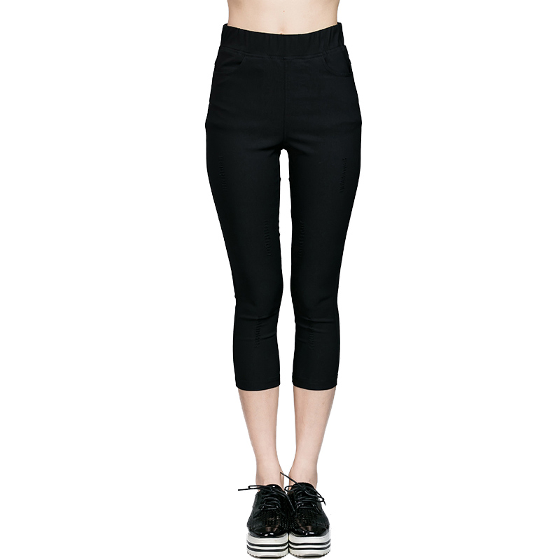 Plus Size Woman Brief Pencil Pants 2017 Summer New Brand Solid Color Female Casual Slim Elastic
