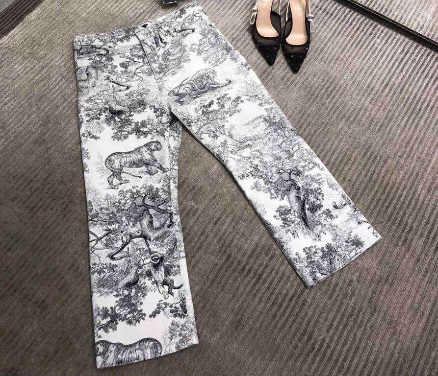 2019 New Fashion Animal Printed Denim Pant Women s Pant 0218Gh01