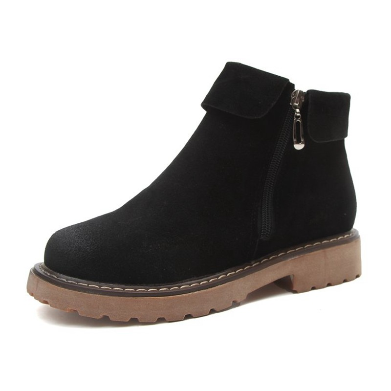 COOTELILI Side Zipper Ankle Boots For Women Winter Shoes Fashion Rubber Sole Platform Boots Ladies Shoes Black Brown 35-39 (6)