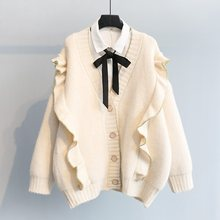 Womens Frilly Loose Fit Cardigan Knitted Thicken Outwear Casual Warm V Neck Sweatercoat Girls Sweaters P06 цена