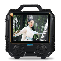 Portable Dual Speakers High Power Bluetooth Speaker Video Player 14 Inch Screen MP3 MP4 FM Karaoke Machine Wireless Microphone