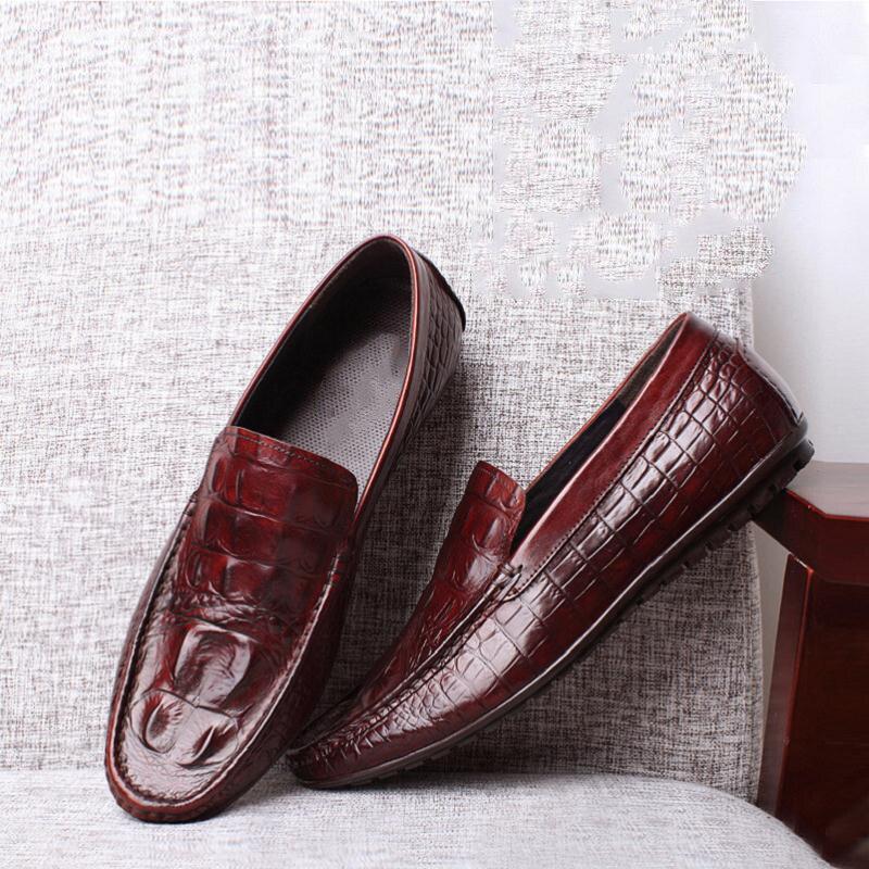 Sapatos Mocassins Preto Luxo Italiana Hombre 2018 Couro Preto Branco vermelho Mycolen Zapatos Crocodilo Marca Vinho De Artesanal Barco qwtCEv