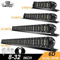 CO luz 6D Offroad barra de luz 36W 72W 120W 180W Delgado LED de trabajo barra LED para Tractor barco Jeep 4WD 4x4 camión SUV ATV 12V 24V