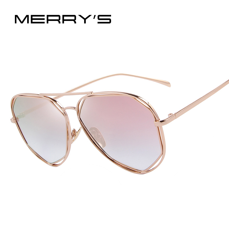 MERRYS Fashion Women Solglasögon Classic Brand Designer Twin-Beams Coating Mirror Flat Panel Objektiv Summer Shades S8492