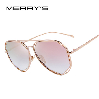 MERRYS Fashion Women Sunglasses Classic Brand Designer Twin-Beams Coating Mirror Flat Panel Lens Summer Shades S8492 Women's Glasses