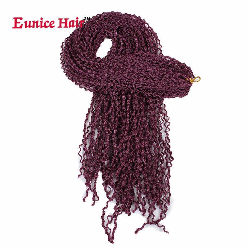 28 дюймов косички наращивание волос # 1B/#27/99j коричневый бордовый Eunice вязание крючком Синтетический Шнур волос