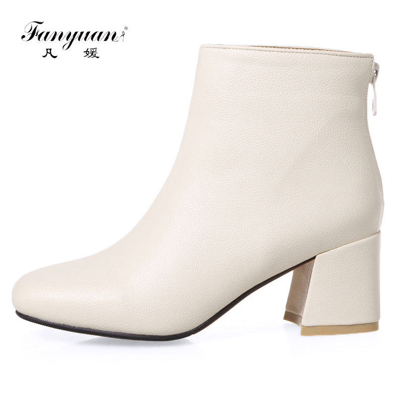 Fanyuan 2018 Ankle Boots Women Shoes Winter Zipper Round Toe Mid Heels 6CM Short Botas for Winter Boots Woman Size 32-46 enmayer shoes woman supper high heels ankle boots for women winter boots plus size 35 46 zippers motorcycle boots round toe