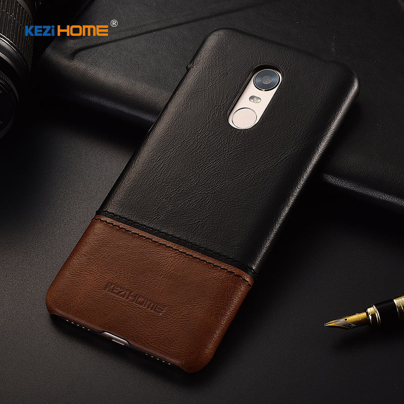 Cep telefonları ve Telekomünikasyon Ürünleri'ten Yarım-sarılmış Kılıf'de Kezihome Hakiki sert çanta Xiaomi Redmi 5 artı Için Kılıf Kapak Deri Telefon Arka Kılıfı IÇIN Redmi 5 Artı Kılıfları title=