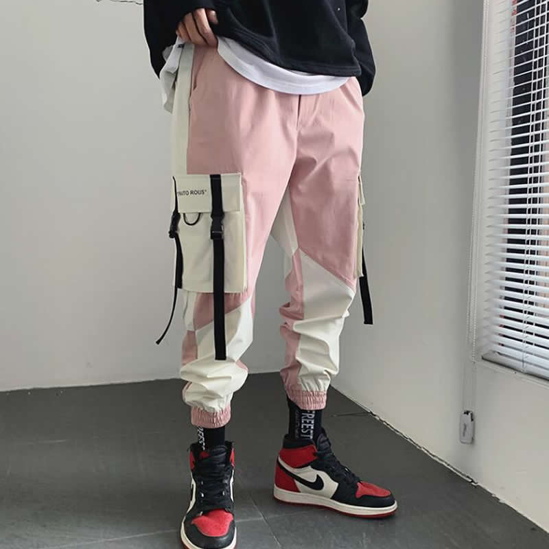 Men Hip Hop Belt Cargo Pants 2019 Man Patchwork Pockets Streetwear Joggers Pants Men Designer Harem Pants