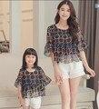 2 pçs/lote combinação de mãe e filha me mãe Chiffon de roupas conjuntos roupas roupas família t-shirt